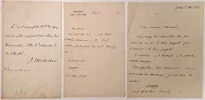Grouping of three autographed items: FRENCH LITERARY FIGURES