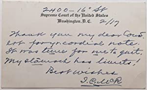 Autographed Note Signed on a Supreme Court postal card