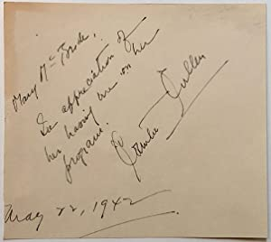 Autographed Note Signed to radio host Mary McBride