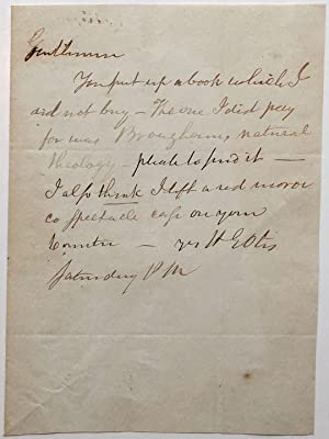 Autographed Note Signed to a book dealer