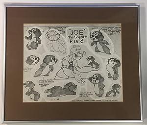 """Framed """"Popeye the Sailor Man"""" proto-type model sheet: JOHNSON, Tom (1907 - 1960)"""
