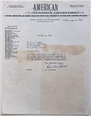 """Typed Letter Signed on scarce """"American Television: FOREST, Lee de"""