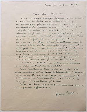 Autographed Letter Signed in French