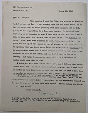 Archive of Eight Typed Letters Signed: MAYNARD, Theodore (1890 - 1956)