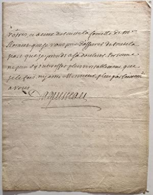 Autographed Letter Signed in French about the death of a colleague: D'AGUESSEAU, Henri Francois...