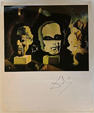 Signed bookplate reproduction of one of his surreal paintings