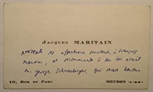 Autographed Note in French on a Personal: MARITAIN, Jacques (1882