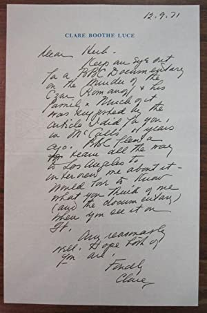 Autographed Letter Signed