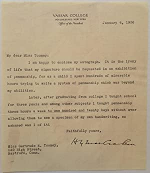 Amusing Typed Letter Signed about Penmanship