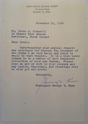 Typed Letter Signed by a Football Player: KERR, George V. (1919 - 1983)