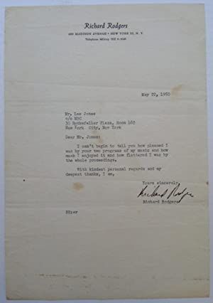Typed Letter Signed on personal stationery: RODGERS, Richard (1902 - 1979)