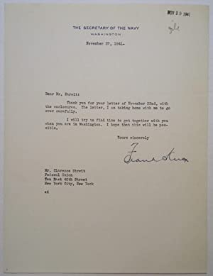Typed Letter Signed eight days before Pearl Harbor