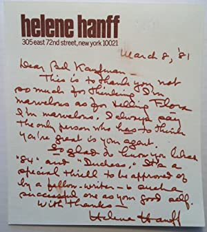 Autographed Letter Signed to a fellow writer