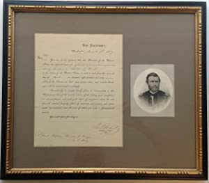 Framed Document Signed as ad interim Secretary: GRANT, Ulysses S.