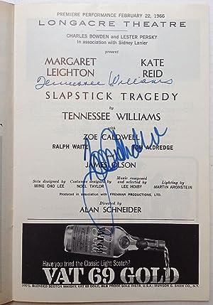 "Signed Playbill -- ""Slapstick Tragedy"": WILLIAMS, Tennessee (1911"