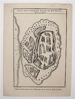 Plan de L'Isle et Ville de Quiloa: BELLIN, Jacques Nicolas