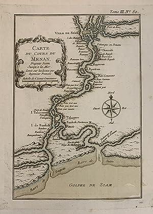 Carte du cours du Menan depuis Siam: BELLIN, Jacques Nicolas
