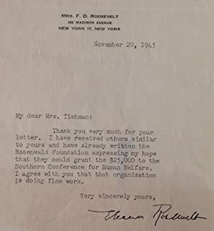 Framed Typed Letter Signed on personal letterhead: ROOSEVELT, Eleanor (1884 - 1962)
