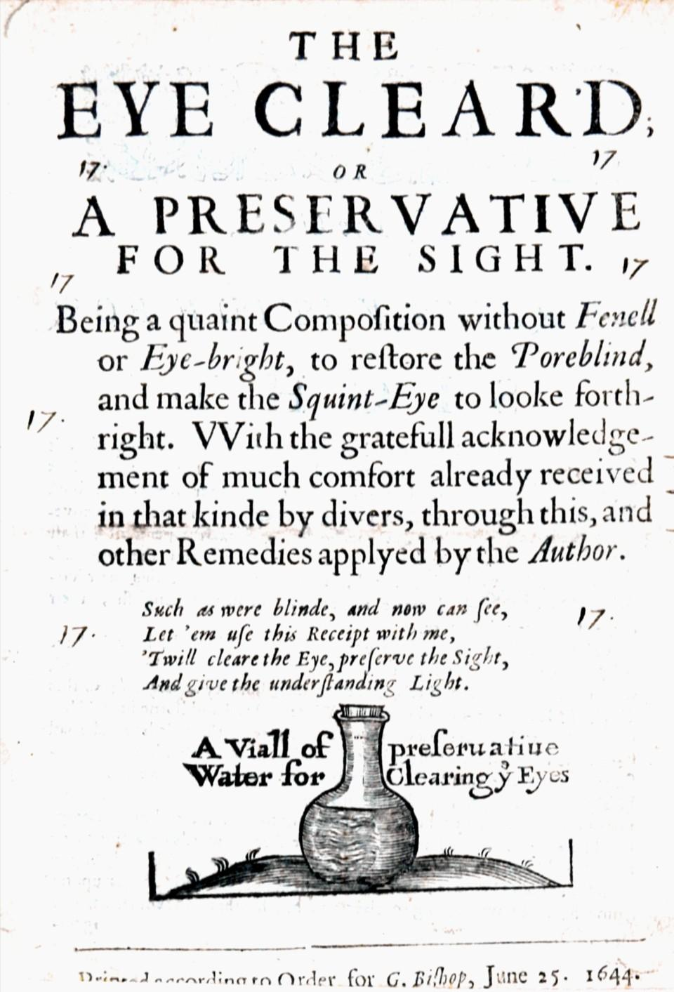 The Eye Clear'd; or A Preservative for the Sight. Being a quaint Composition withou Fenell or ...