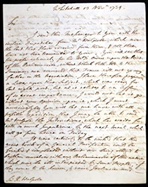 Fine autograph letter written to the Prime Minister, Robert Walpole, in which he forwards ...