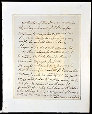Autograph letter written to R. Wilson of Lincolns Inn discussing various options for the ...