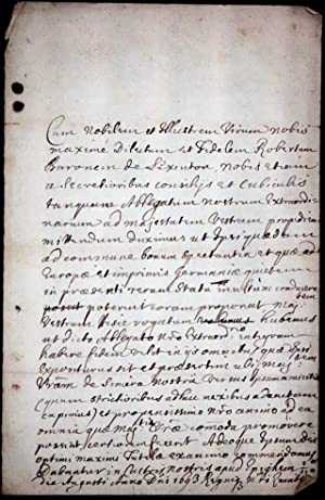 Manuscript Credentials, written in Latin, to enable Robert Sutton, Second Baron Lexington, visit ...