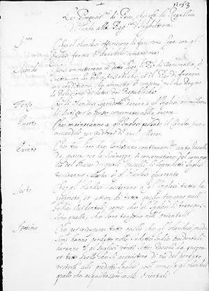 """Manuscript in Italian and Spanish titled """"Le Propositn di Pace che sa la Republica d'..."""