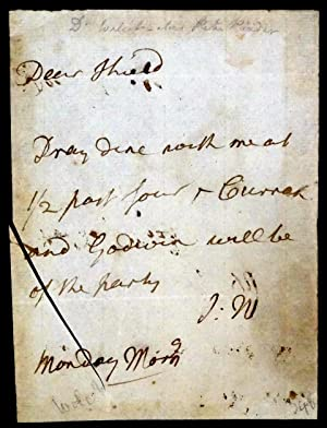 An Autograph letter to the Composer William Shield inviting him to a Dinner Party with Curran and ...