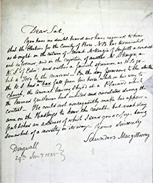 An Autograph letter written by Macgillivray & addressed to the Editor of the Satirist in London...