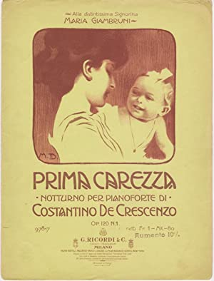 Prima carezza. Notturno per pianoforte [Spartito illustrato: De Crescenzo, Costantino