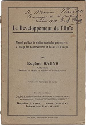 Le Développement de l'Ouïe. Manuel pratique de: SAEYS, Eugène (1887-1969)