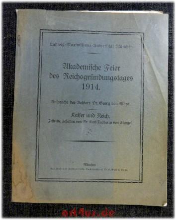 Akademische Feier des Reichsgründungstages 1914 : Ludwig-Maximilians-Universität: Mayr, Georg von