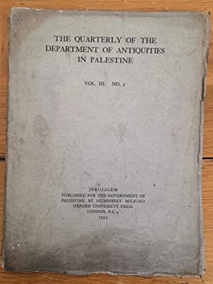 Quarterly of the Department of Antiquities in