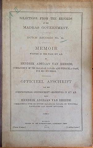 Memoir written in the year 1677 A.: Hendrik Adriaan van