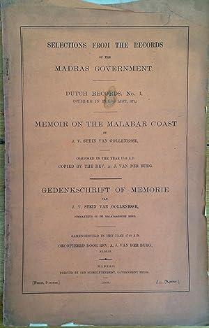 Memoir on the Malabar coast by J.V.: J.V. Stein Van