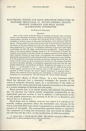 "HUND'S MOLECULAR ORBITAL THEORY EXPANSION: ""Electronic States: Mullikan, Robert S."