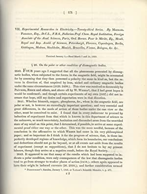 """Experimental Researches in Electricity -- Twenty-Third Series"""": Faraday, Michael"""