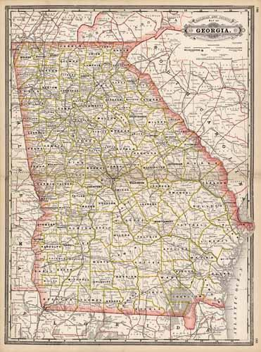 Railroad Map Of Georgia.Railroad And County Map Of Georgia