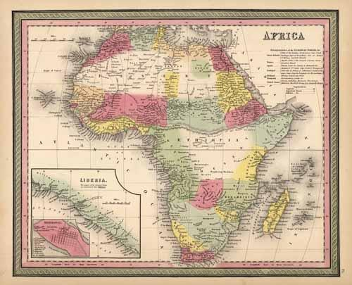 Africa With An Inset Map Of Liberia And Monrovia By Thomas