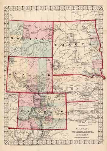viaLibri ~ County Map of Colorado, Wyoming, Dakota, and Montana
