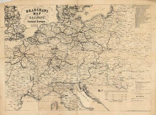 Bradshaw\'s Map of the Railways, in Central ...