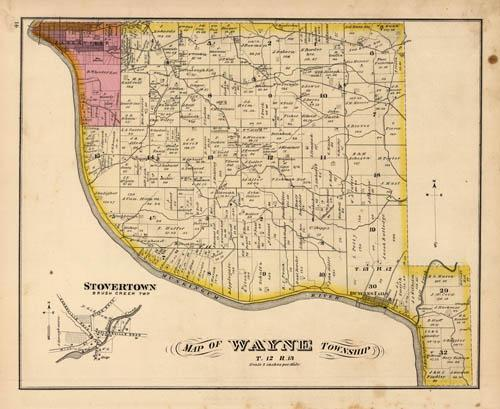 Map of Wayne Township. Stovertown, Brush Creek TWP. (Ohio) by L.H. Map Of Wayne County Ohio on
