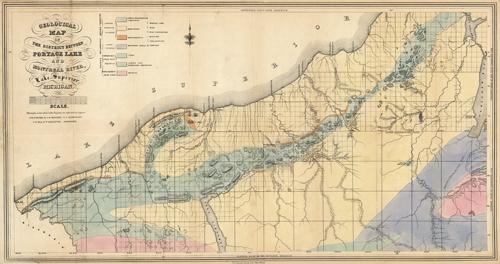 Portage Lake Michigan Map.Geological Map Of The District Between Portage Lake And Montreal