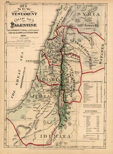 10 Palestine Israel Original Antique Hand Colored Maps