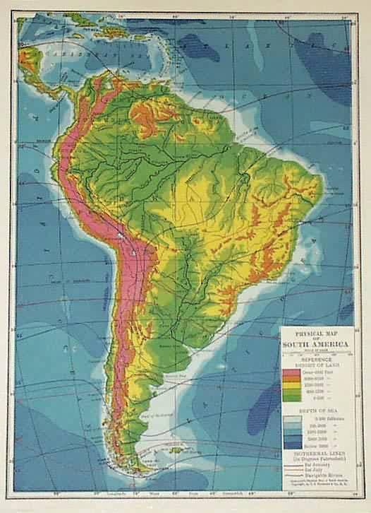 Physical Map of South America C.S Hammond [ ] (bi_92174426) photo