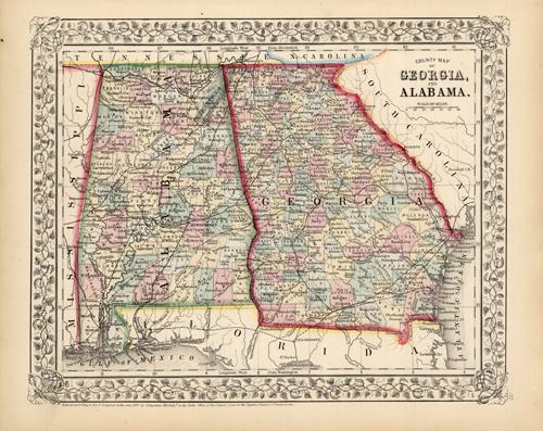 Map Of Georgia Alabama.County Map Of Georgia And Alabama