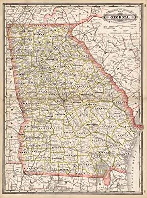 Railroad and County Map of Georgia: George F. Cram