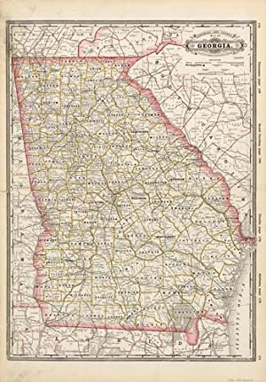 Railroad & County Map of Georgia: George F. Cram