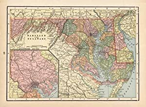 Maryland and Delaware (with an inset map: George F. Cram