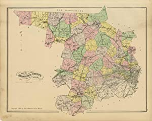 Map of Middlesex 19th Century Repro Middlesex Map Thomas Moule Map